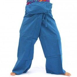 Pantalones de pescador tailandés algodón - azul aciano-