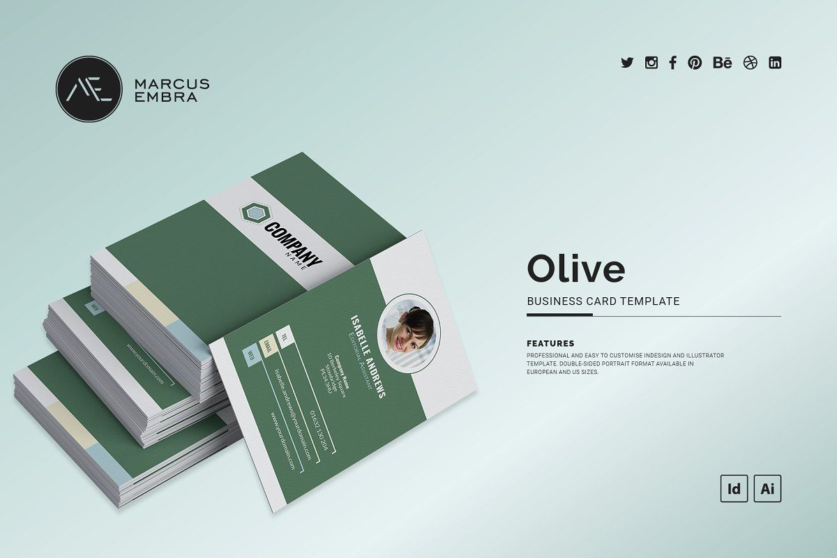 Photo Business Card Template Olive Photo Business Cards Business Card Template Digital Business Card