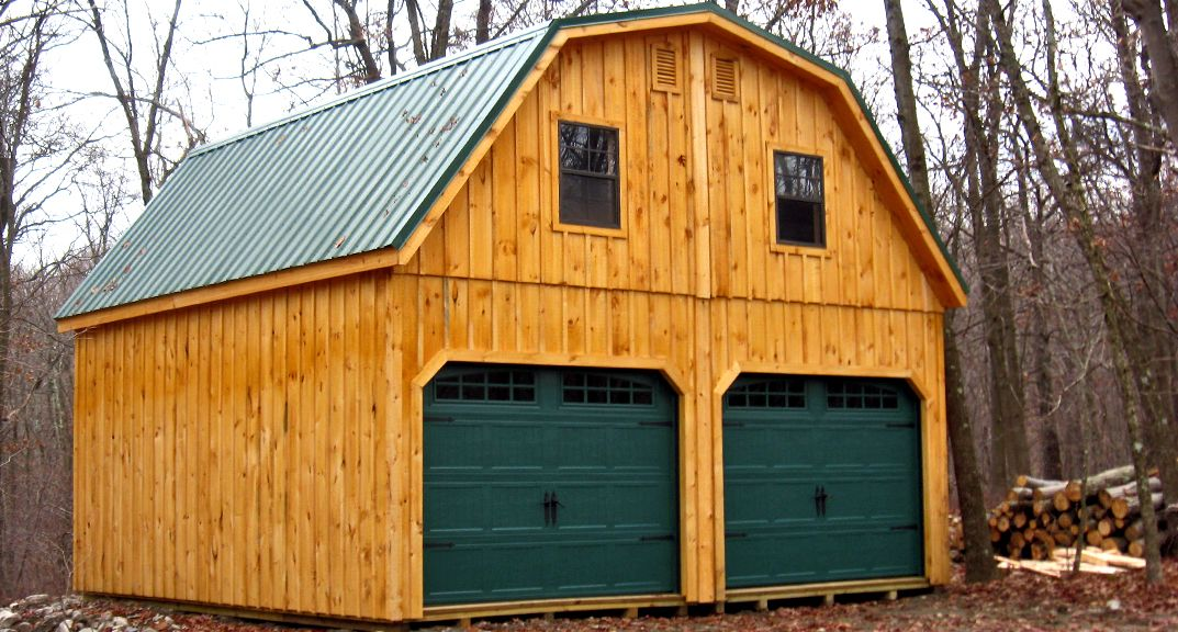 20x20 raised roof garage with metal gambrel roof little for Gambrel roof barn kits