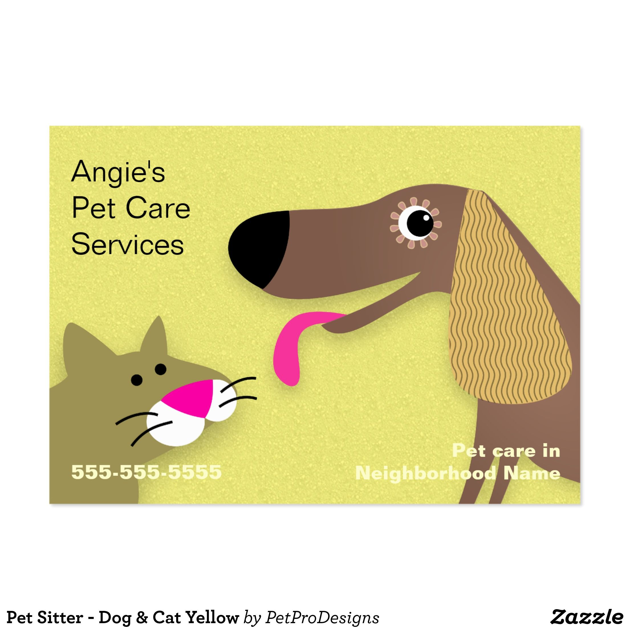 Pet Sitter Dog Cat Yellow Business Card Zazzle Com