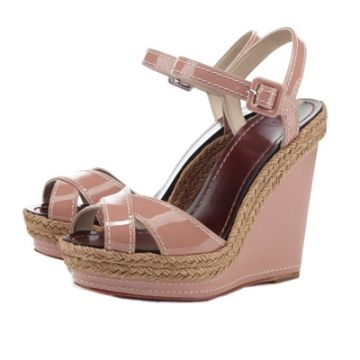 Discount Christian Louboutin Almeria Espadrille Wedges Nude Outlet Online  For Sale