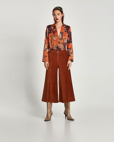 Pantalon Culotte Pana Culottes Pantalones Mujer Zara Espana Ladies Culottes Culottes Culottes Street Style