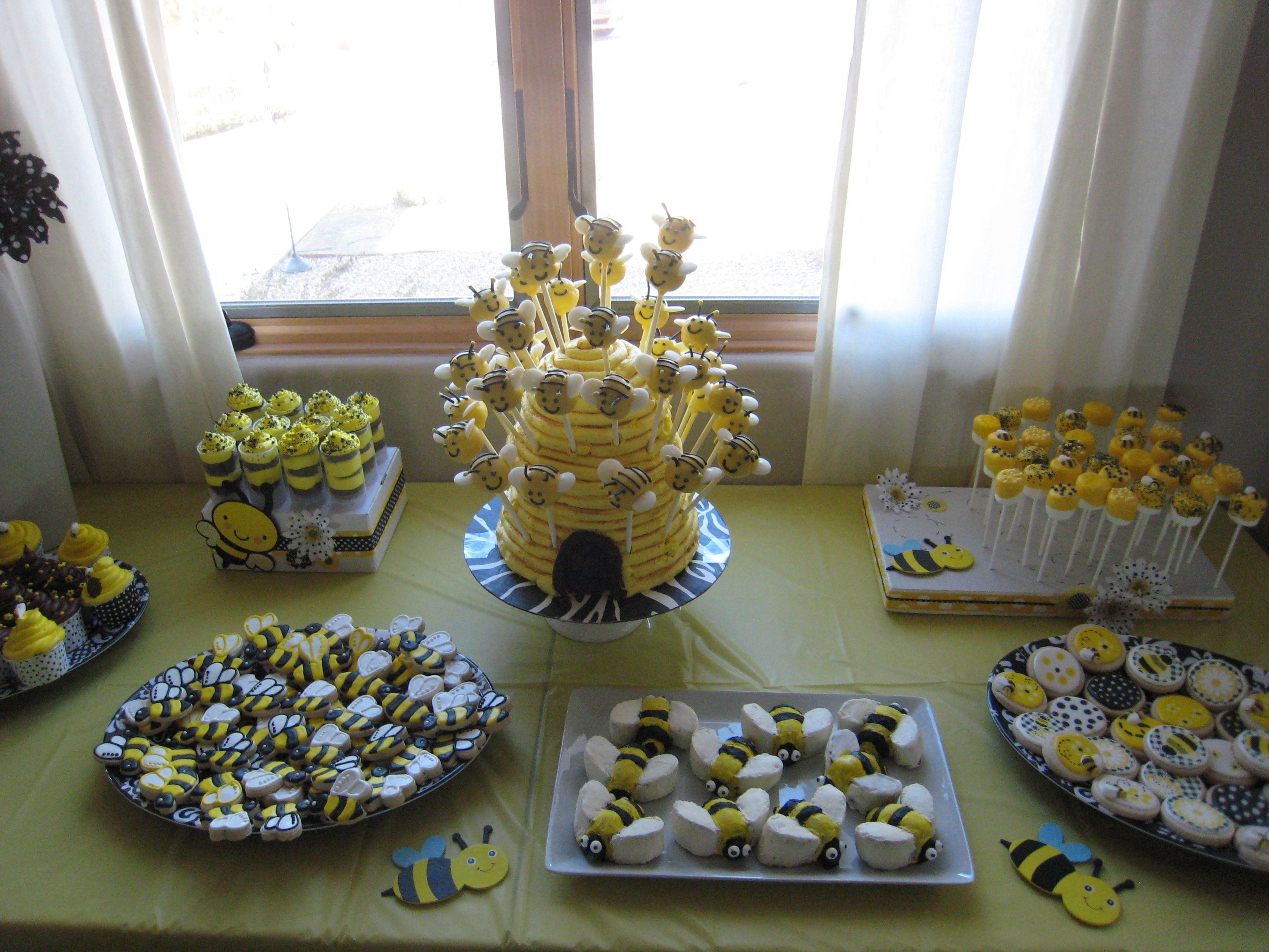 Birthday Party Ideas Bumble Bee 1st Treats Sugar Cookies Cake Pops Dipped Marshmallows
