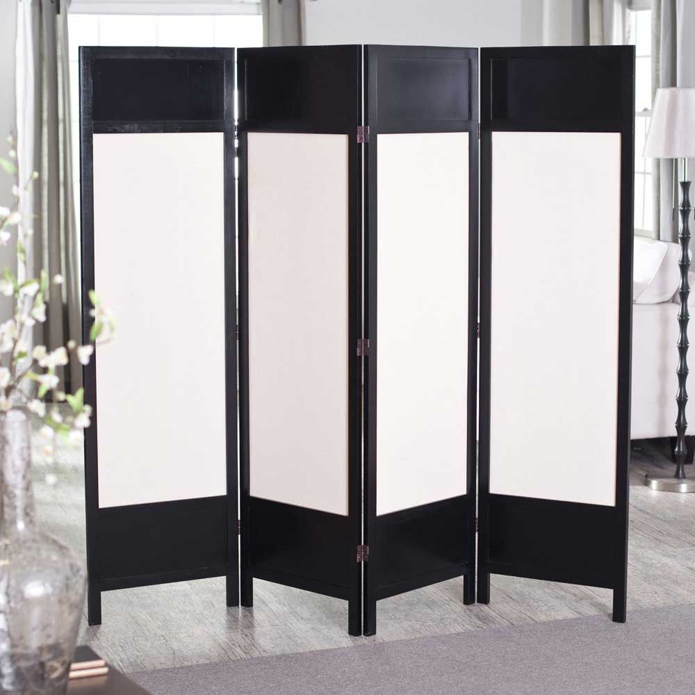 Griffin 4 black panel room separator with white canvas for Sliding panel doors room dividers