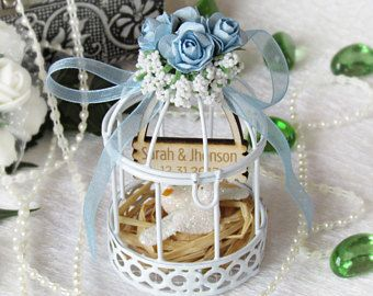 5Pcs//Set White Bird Cage Wedding Gift Box Favours Metal Birdcage Candy Decor