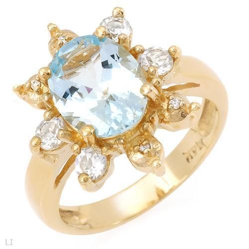 BEAUTIFUL 2.84 CTW  AQUAMARINE, DIAMONDS & TOPAZES RING IN 14K SOLID GOLD SIZE 8, #SALE #SALE #SALE!