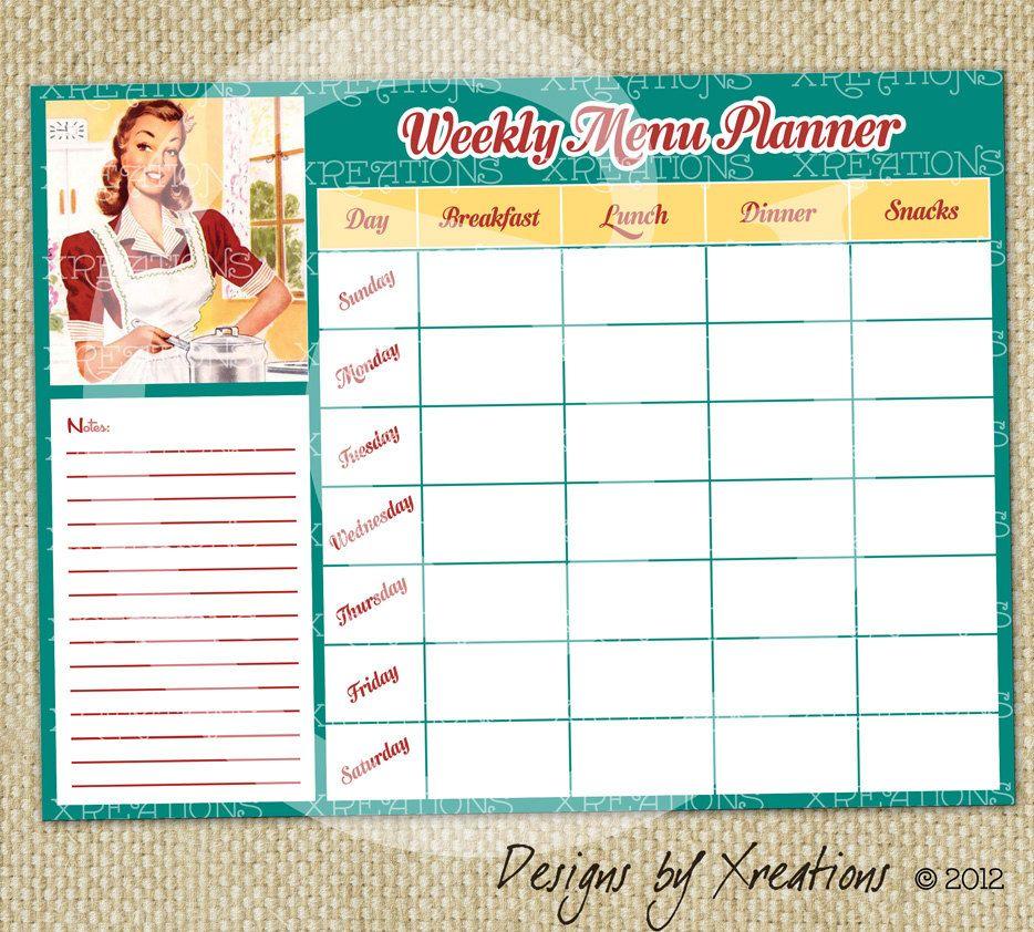 printable weekly menu planner one (1) Retro Blank Weekly Menu - food inventory template