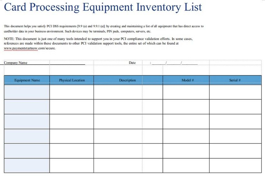 Printable Equipment Inventory List Template Business Process List Template Business Template