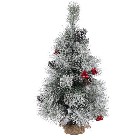 Vickerman 18 inch Frosted Mixed Berry Pine Artificial Christmas Tree