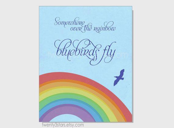 Somewhere Over The Rainbow Bluebirds Fly Art Retro Art For Etsy Girls Room Wall Art Rainbow Art Over The Rainbow