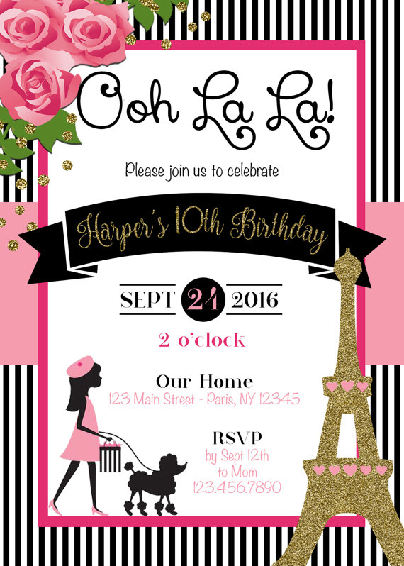 Paris Invitation Theme Party By SophisticatedSwan