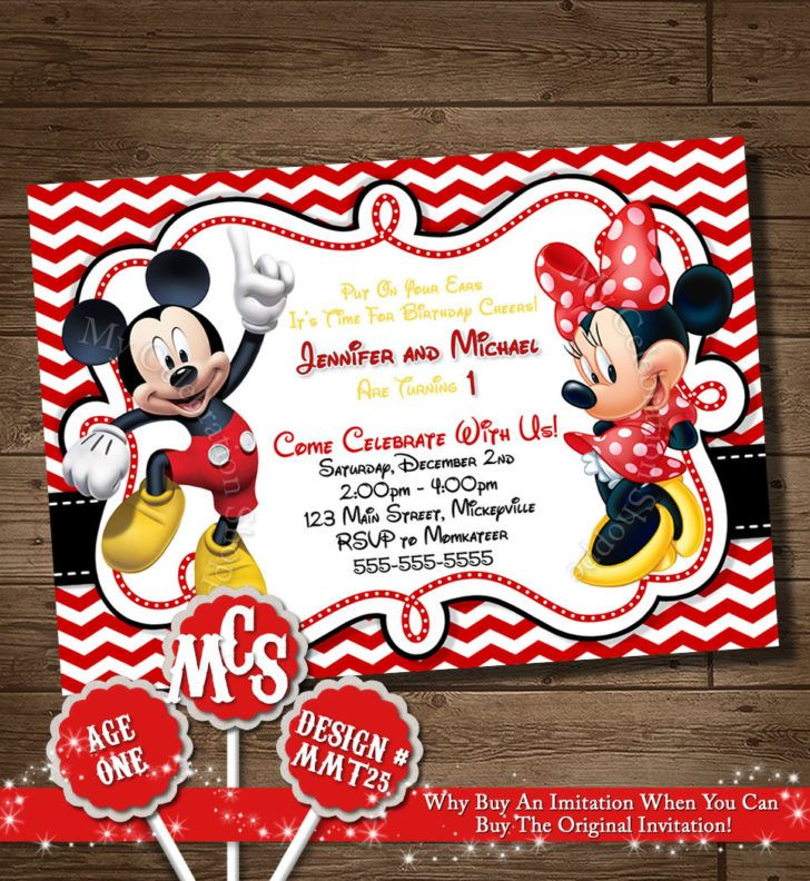 Birthday Outstanding Red Chevron Mickey And Minnie Twin First