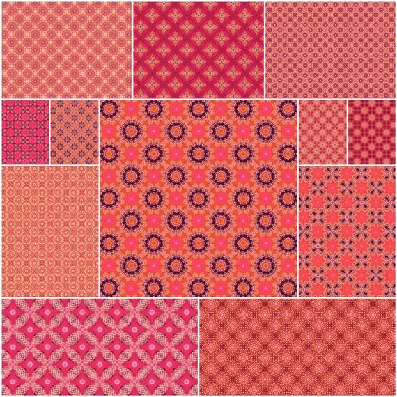 image relating to Printable Decorative Paper referred to as Orange, Coral, Purple, White Attractive Paper Mounted For