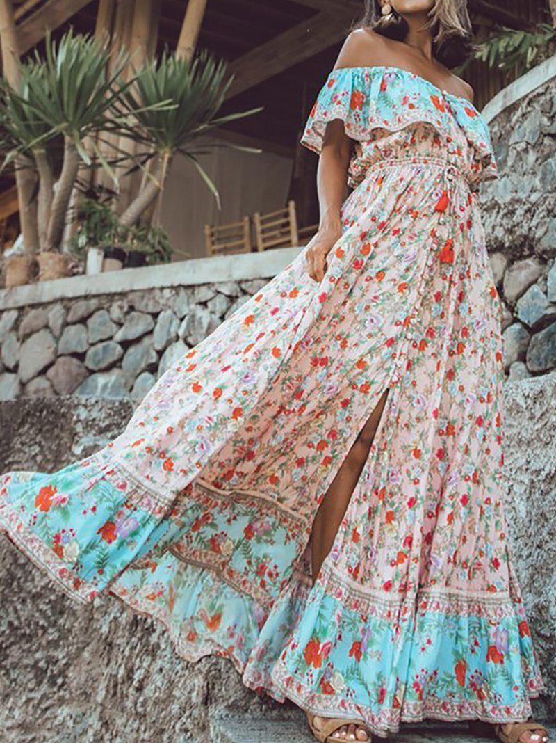 Bohemian Off Shoulder Printed Colour Maxi Dresses In 2021 Maxi Dress Vacation Dresses Bohemian Maxi Dress [ 1068 x 800 Pixel ]