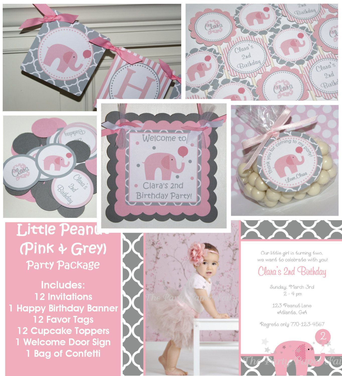 Little Peanut Pink Elephant Birthday Party Package