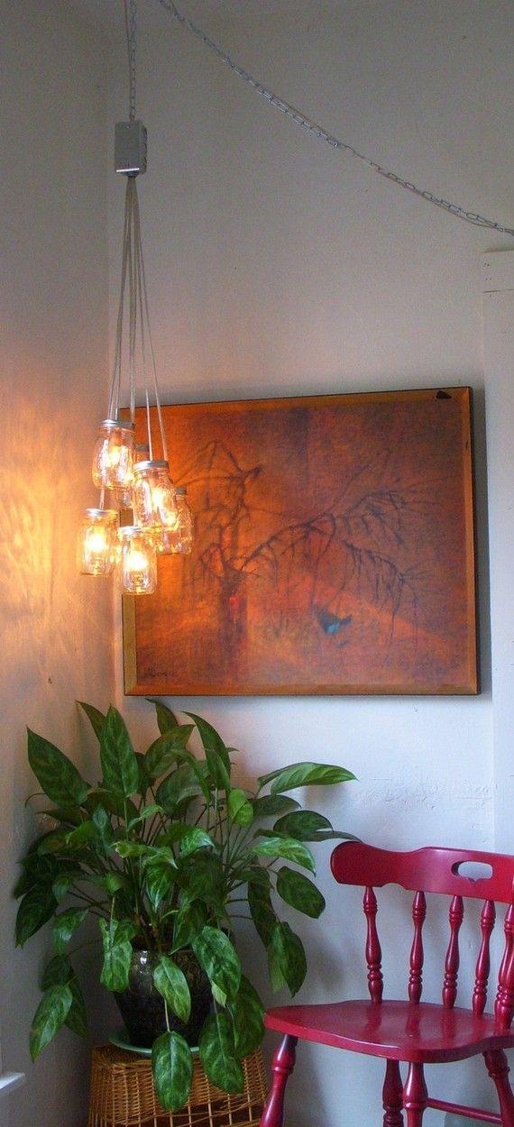 Tarro de masón araña, colgante rústico tarro de masón accesorio de iluminación colgante, 6 frascos en colores Pastel, bombillas incluidas