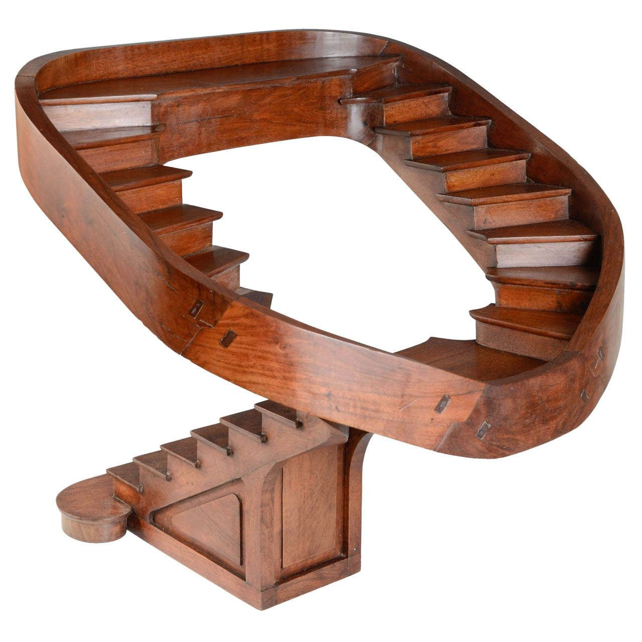 19th century carved walnut masterpiece double revolution for Double curved staircase