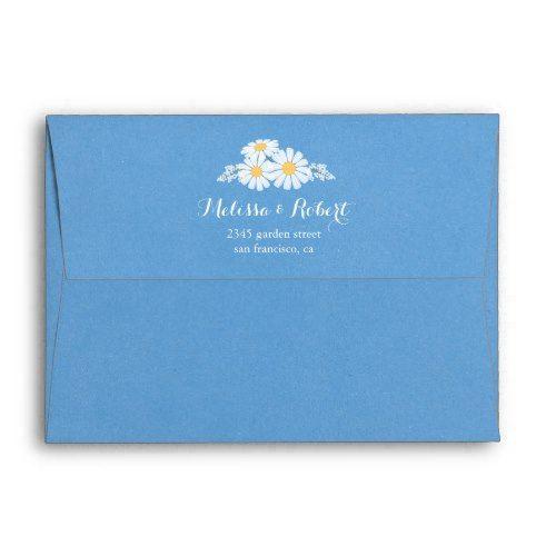 Elegant Floral White Daisies On Blue Wedding Envelope Zazzle Com Wedding Envelopes Daisy Wedding Wedding Prints