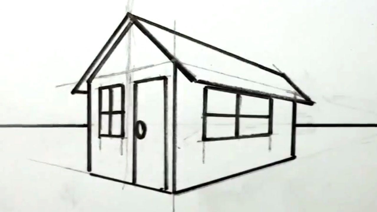 Lovely How To Draw A House In 3D For Kids   Easy Things To Draw
