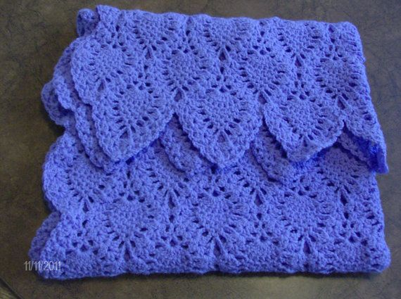 Crochet Purple Pineapples Baby Blankets by HookedInYarn on Etsy, $35.00