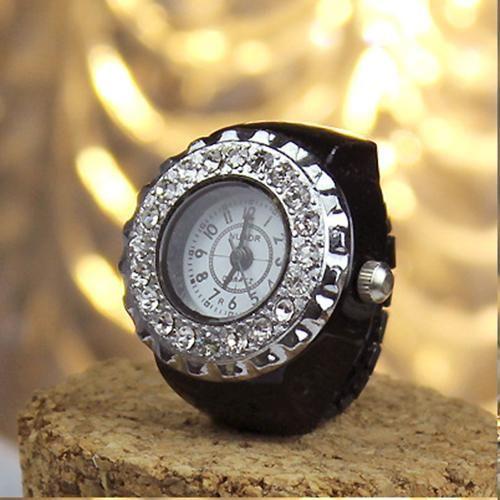 Rhinestone Alloy Ring Watch