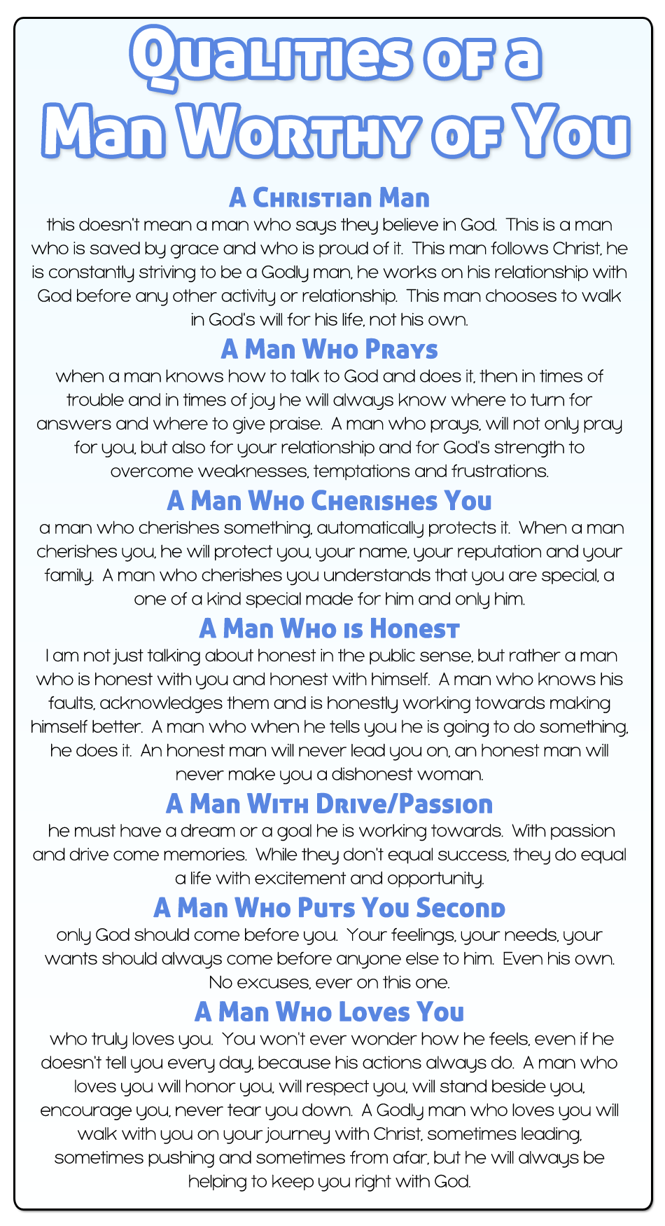 Dating qualities in a man