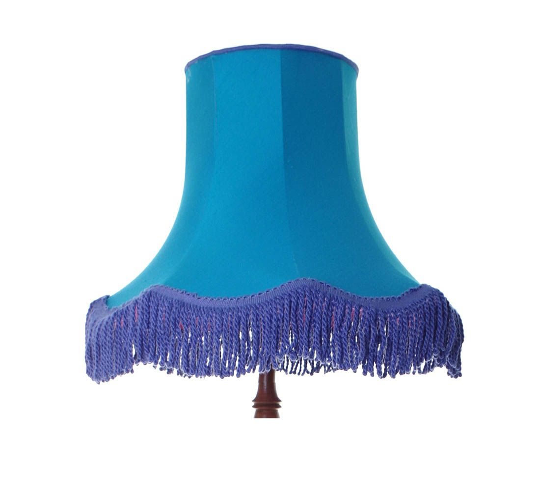 Large vintage style lampshade in turquoise blue finished with a large vintage style lampshade in turquoise blue finished with a purple heavy wool tassle fringe fully lined in pink suitable for a standard lamp floor mozeypictures Image collections