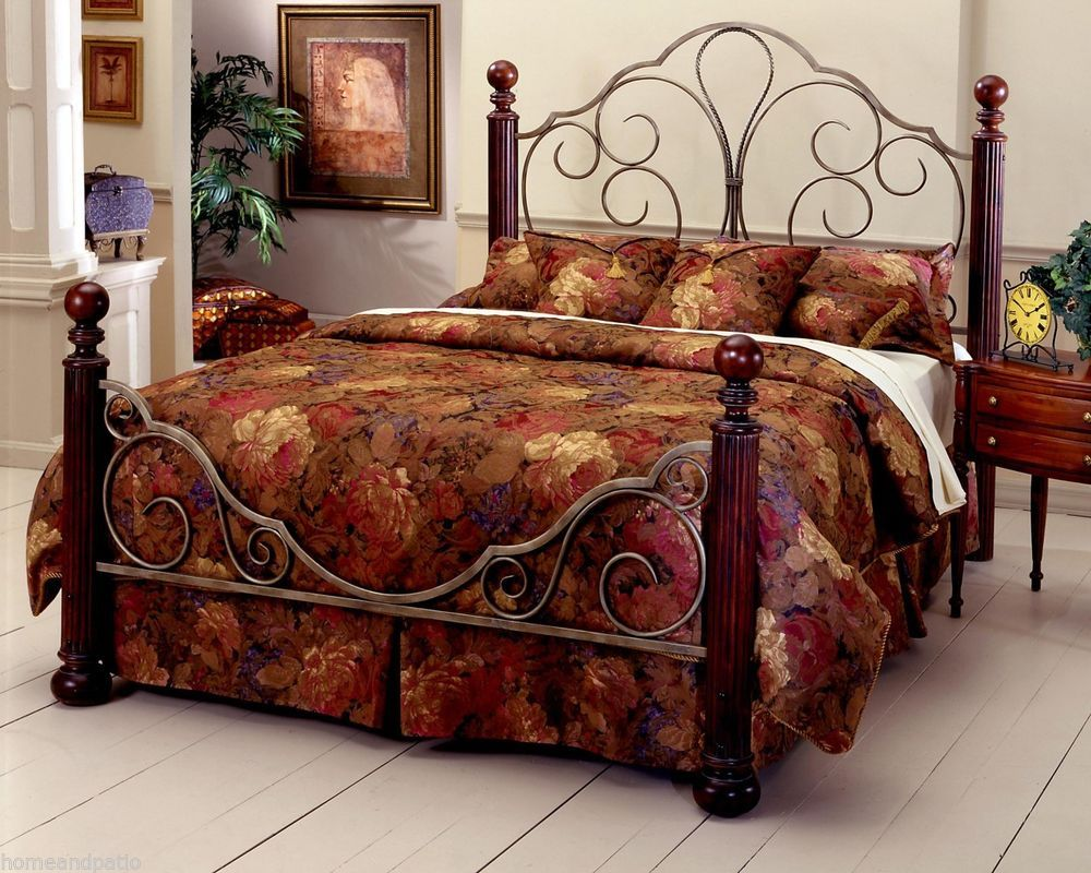 New Ardisonne Silver Cherry King Size Iron Wood Bed Includes Frame Wood Bed Frame Queen Furniture Hillsdale Furniture