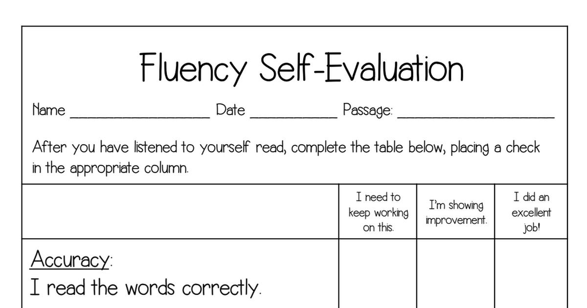 Fluency Self EvaluationPdf  Classroom Ideas