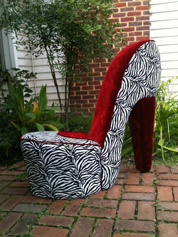 Handmade Zebra U0026 Red High Heel Shoe Chair FREE SHIPPING By MeriMeg, $189.00    Great