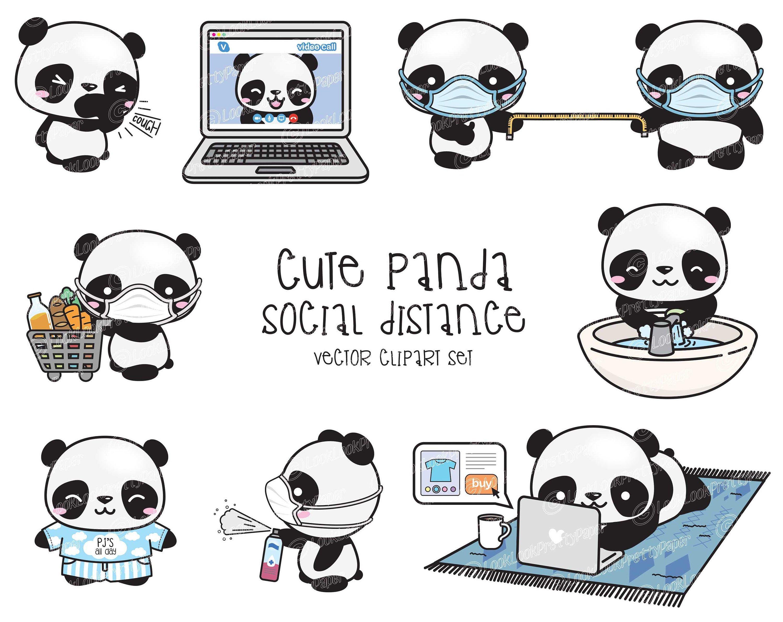 Premium Vector Clipart Kawaii Panda Cute Panda Social Etsy In 2021 Kawaii Panda Clip Art Cute Panda