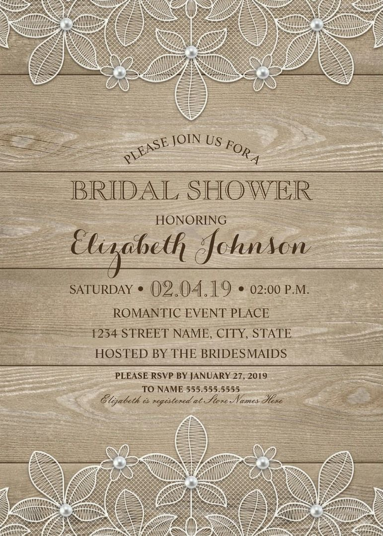 Unique Rustic Bridal Shower Invitations Feature A Beautiful Lace Luxury Pearls And Stylish Typography On Dark Country Wood Background