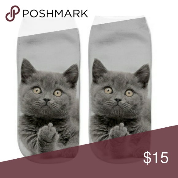 New 3d Printed Cat Flip Off Socks Nwt Cat Socks Boho Socks Kitten Socks