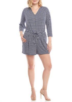 Kaari Blue™ Women s Plus Size Print Jersey Knit Romper Navy Geo