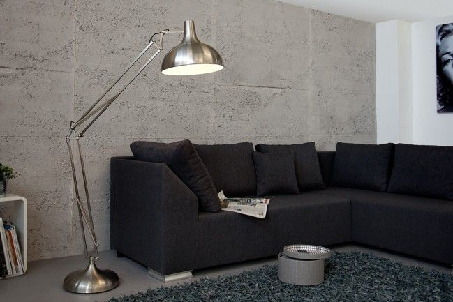 Wohnzimmer Stehleuchte ~ Stylische stehlampe loft cm edelstahl gebürstet stehleuchte