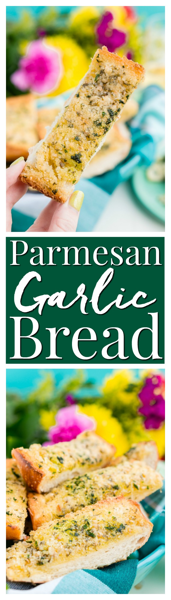 This Parmesan Garlic Bread is the perfect side for Bertolli's Frozen Chicken Florentine. A quick and easy recipe loaded with herbs, butter, and Parmesan cheese that can be whipped up in minutes! via @sugarandsoulco