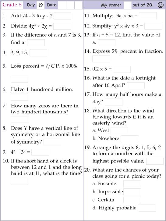 Mental Math Grade 5 Day 19 Mental Math Mental Maths Worksheets Mental Math Math Methods