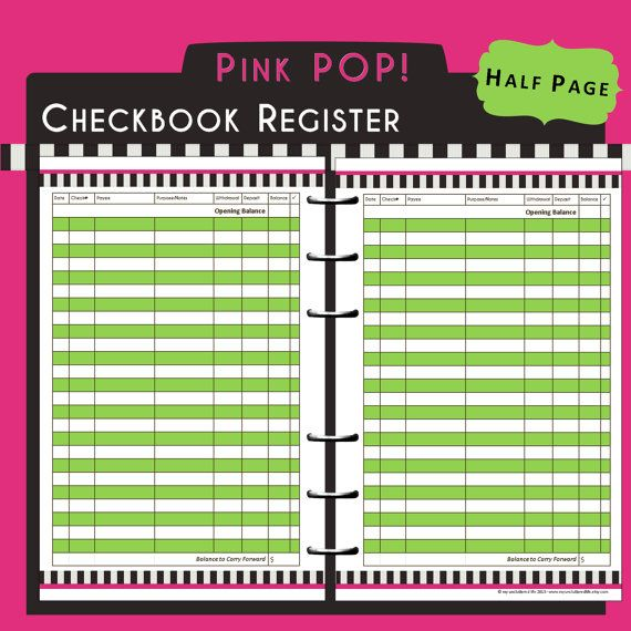 US Half Page Printable Checkbook Register in Bright Pink, Black - check registers