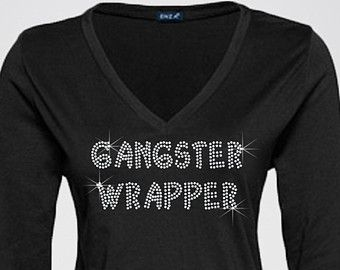 Gangster Wrapper - Funny Christmas Shirt Embellished with Bling