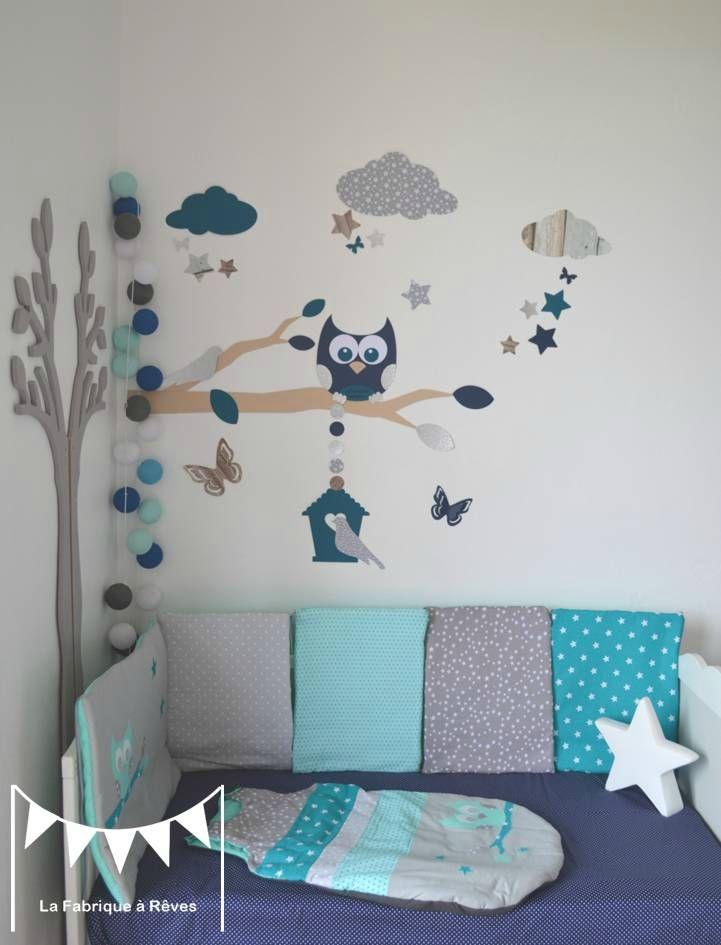 stickers décoration chambre enfant garçon bébé branche cage à oiseau
