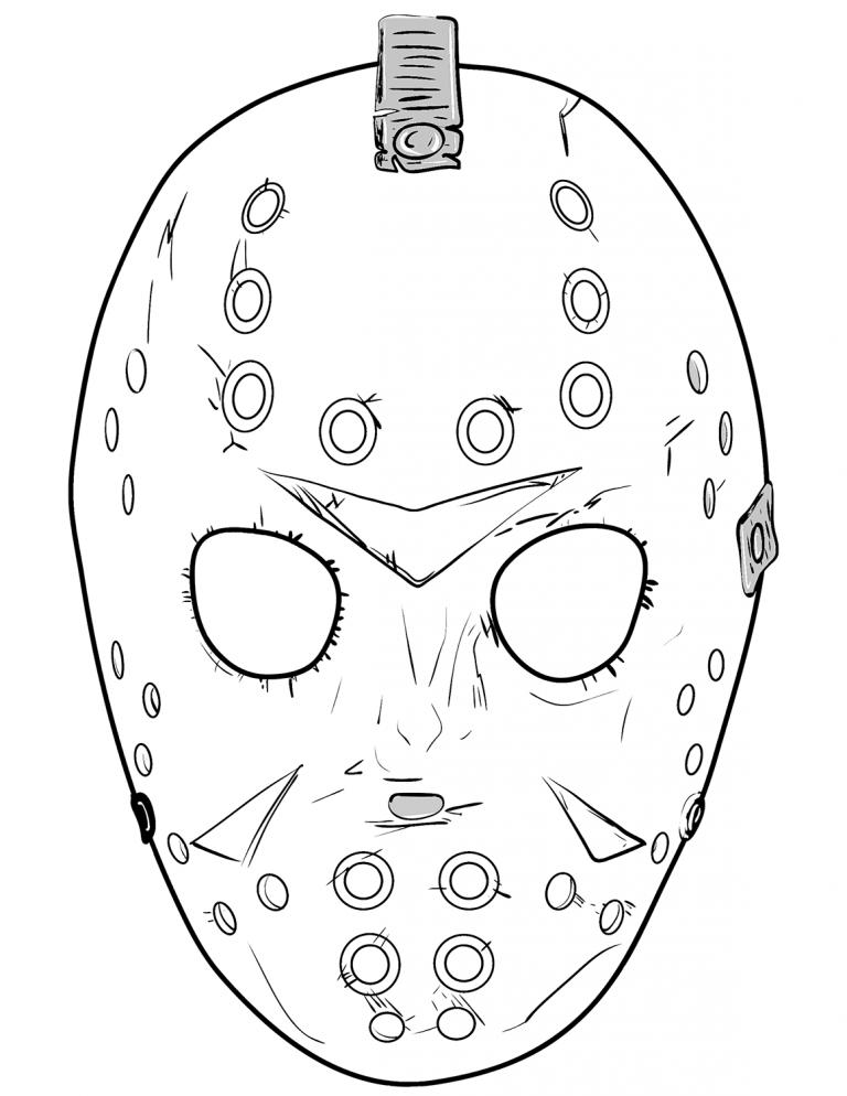 Jason Coloring Pages Friday The 13th Jason Mask Jason Friday Jason Drawing