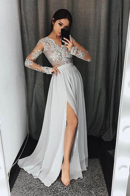 Stylish A Line V Neck Long Sleeves Split Front Gray Chiffon Long Prom Dresses Uk Pm3 Prom Dresses Long With Sleeves Grey Prom Dress Long Sleeve Evening Dresses