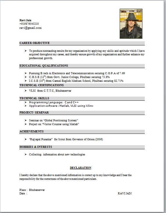 resume format for student resume downloads httpwwwresumecareerinfo - Experience Resume Format Download