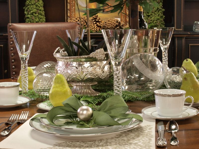 Christmas Table Top Decor Tablescapes Pinterest Silver