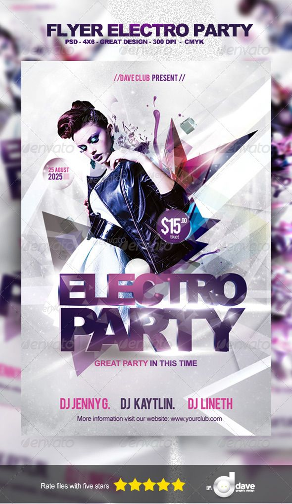 Flyer Electro Party Template Electro music, Template and Fonts