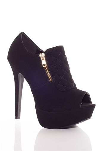 Quilted Commotion Quilted Peep Toe High Heel Booties - Black from Qupid at Lucky 21