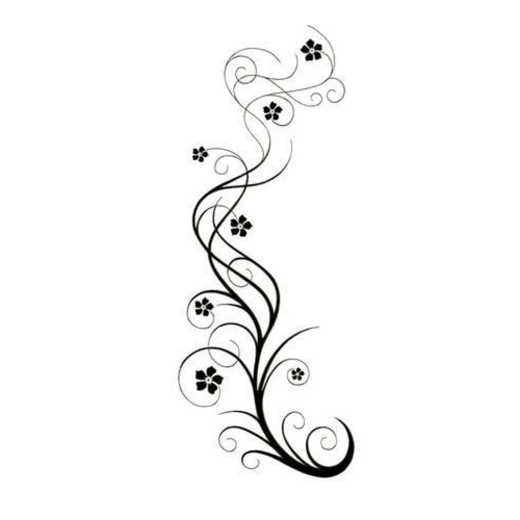 Vine Designs Art : Long swirly vine with flowers tattoo design tatoo