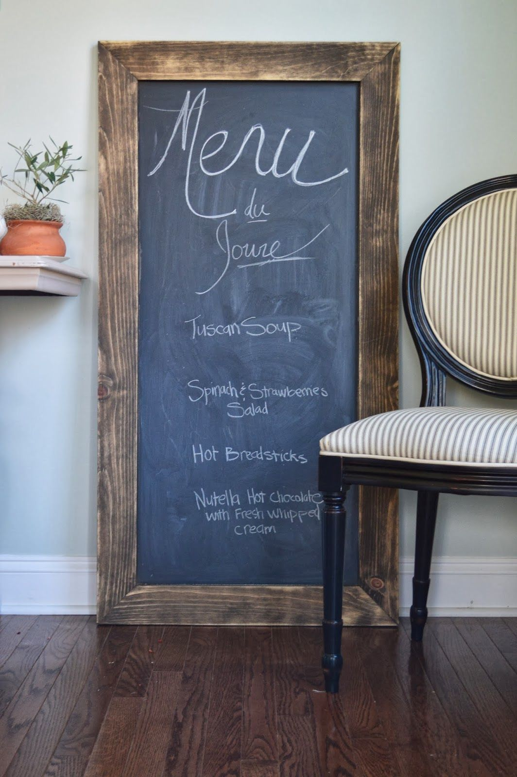 I want to share with you an easy way to make a large chalkboard ...