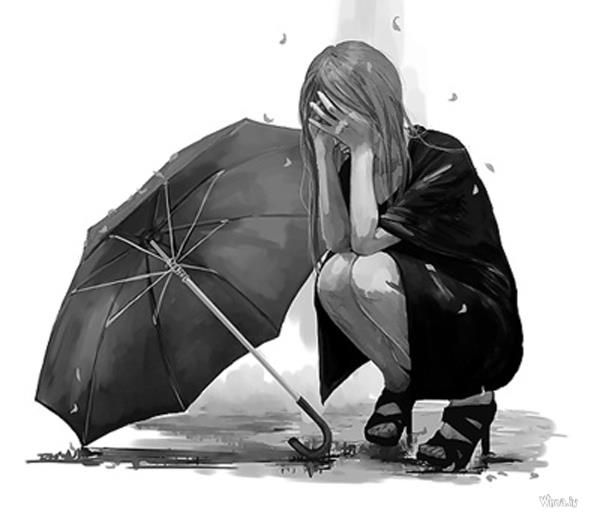 lonely cartoon girl black and white crying wallpaper for