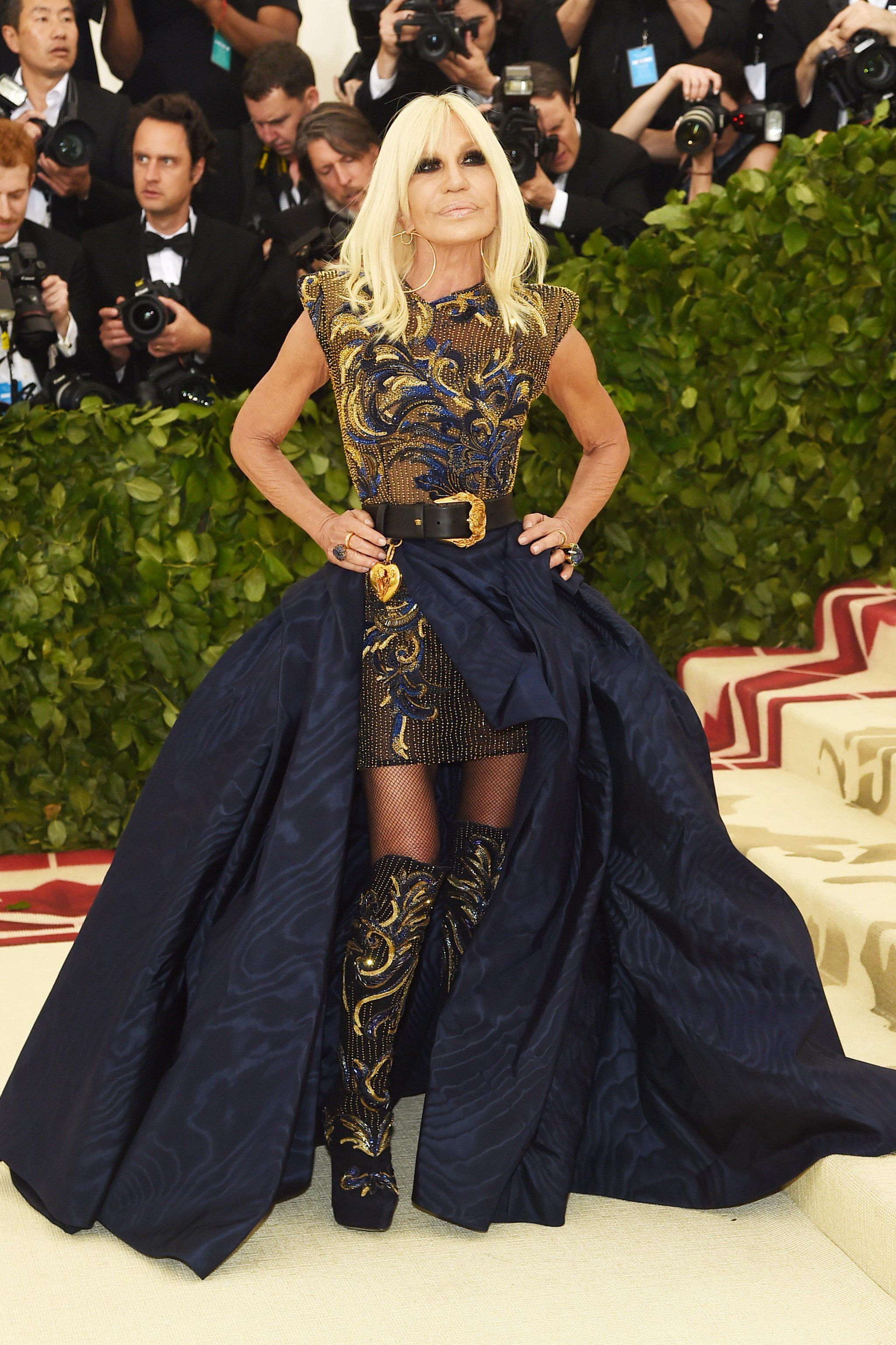 2c8468fc Donatella Versace's Met Gala Look Is All About the Embellishments and Her  Matching Boots